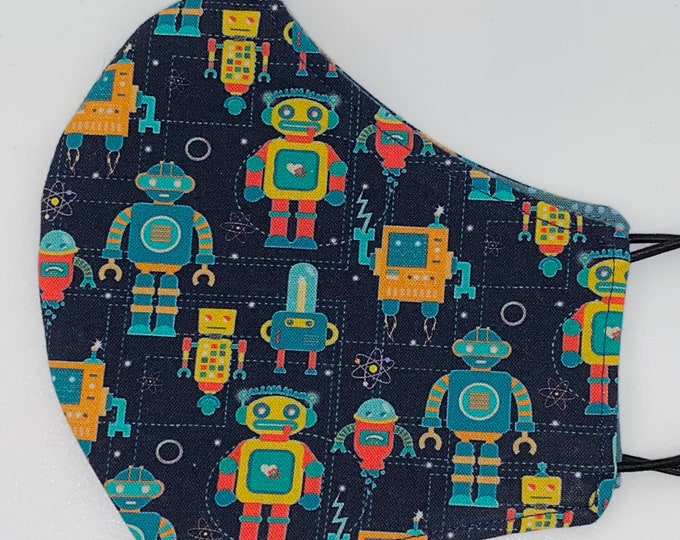 ADULT Mask - Robots - Science - Build - Men's - Comfortable - Blue - Easy to Breathe - Wear All Day - Fast Shipping - STEM - Reversible