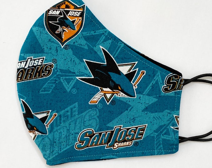 ADULT Mask - San Jose Sharks - Hockey - NHL - Bay Area - Sports Team - Comfortable - Easy to Breathe - Solid Black - Mens - Womens - Teens