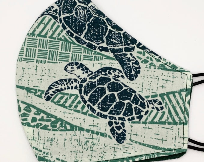 ADULT Mask - Sea Turtles - Hawaiian Batik - Traditional Hawaii - Ocean Wildlife - Maui - Green - Island Washable Reversible Reusable Fabric
