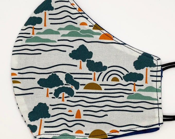 ADULT Mask - Sunset Island - Navy Batik - Surf - Ocean - Tropical Vibe - Chill - Beach Trees - Muted - Washable Reversible Reusable Fabric