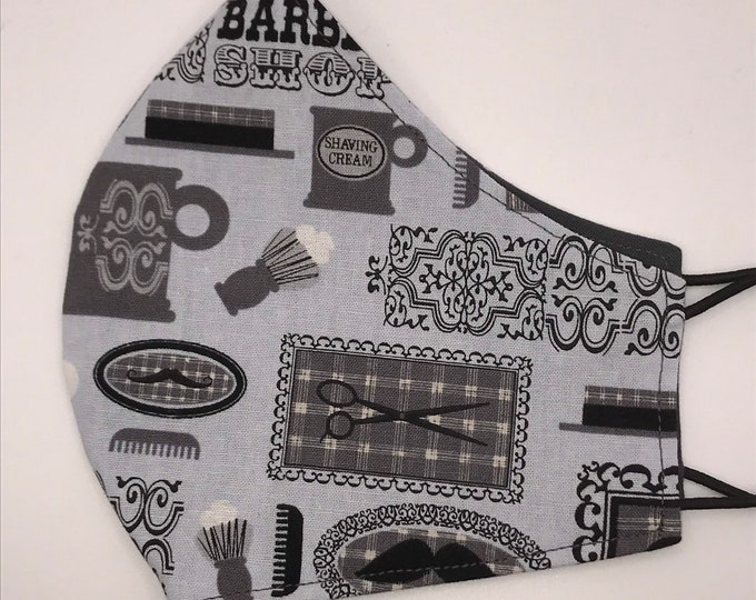 ADULT Mask - Barbershop - Mustaches - Solid Gray - Hair Stylist - Salon - Beauty Parlor - Beard - Washable Reversible Reusable Fabric
