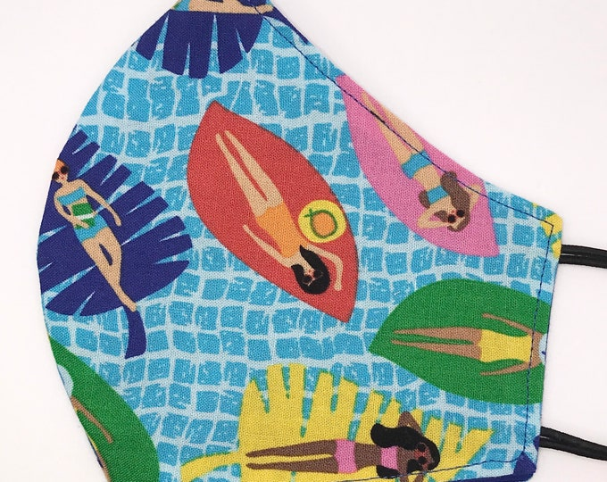 ADULT Mask - SunBathers on Leaves - Solid - Pool - Swimming - Ladies - Novelty - Cute - Bright - Water - Washable Reversible Reusable Fabric
