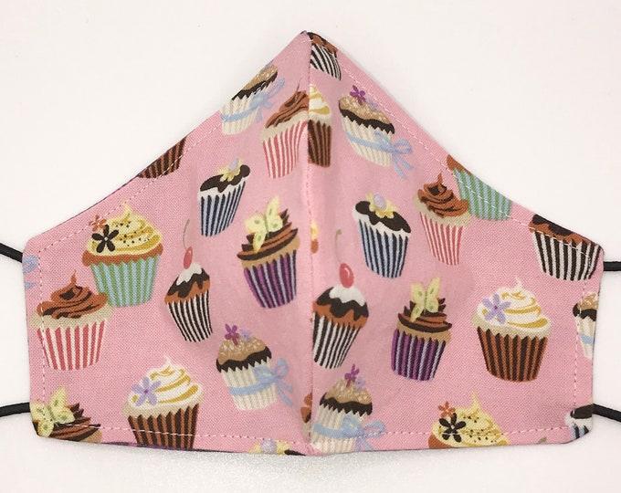 TODDLER Mask - Pink Cupcakes - Rainbow Damask -  Bakery - Sweets - Cupcake - Desserts - Kids Mask - Washable Reversible Reusable Fabric