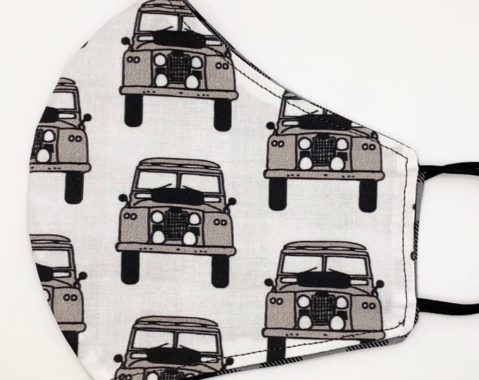 ADULT Mask - Land Rover - Gray Black Plaid - Off Roading - Car Enthusiast - Rovicon - Outdoorsy - Car - Washable Reversible Reusable Fabric