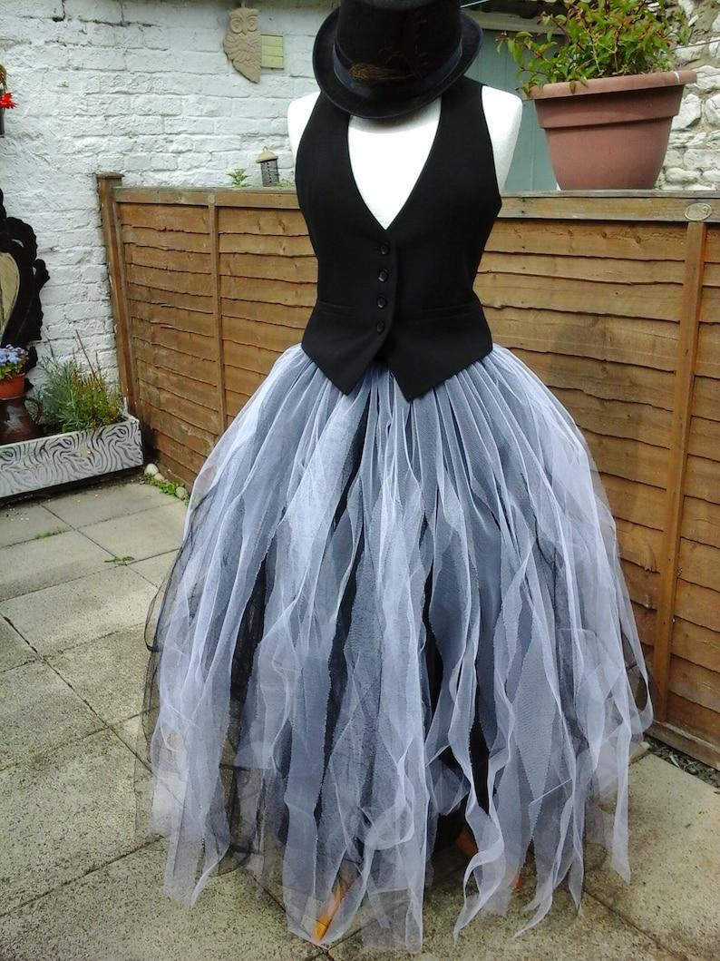 c6aa9c5bb1 White black tutu skirt adult tulle goth petticoat gypsy ballet | Etsy