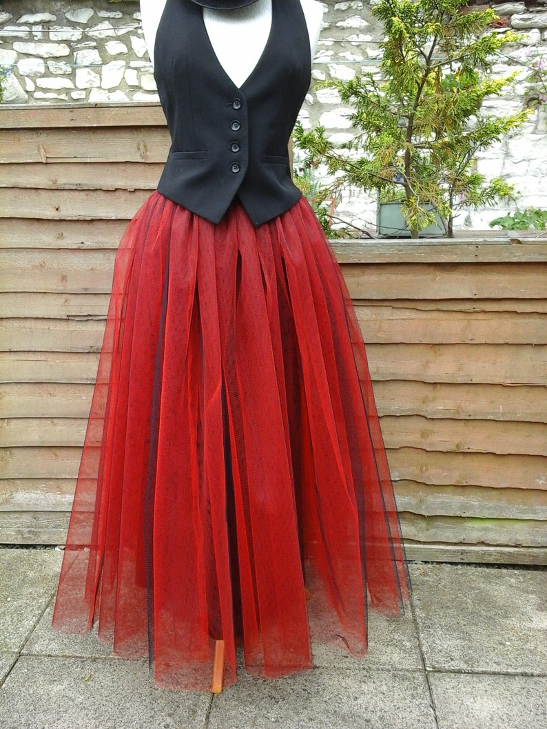 2afee4dd42 Lined black red tutu skirt tulle adult goth prom FLARE FREE | Etsy