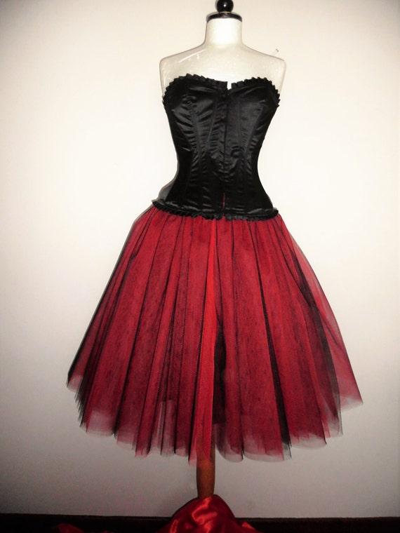 afa7783b8c Red black tutu skirt adult tea length lined tulle weddings | Etsy