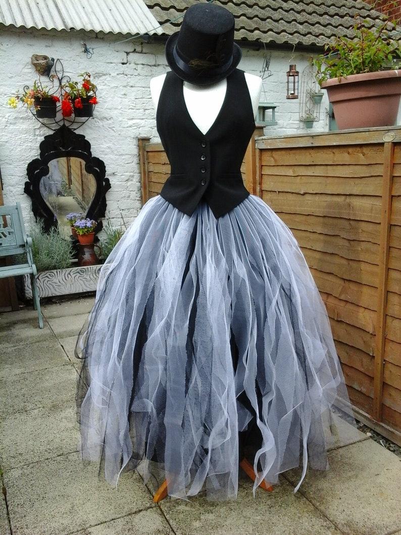 3151669ac0 White black tutu skirt adult tulle goth floor length weddings | Etsy