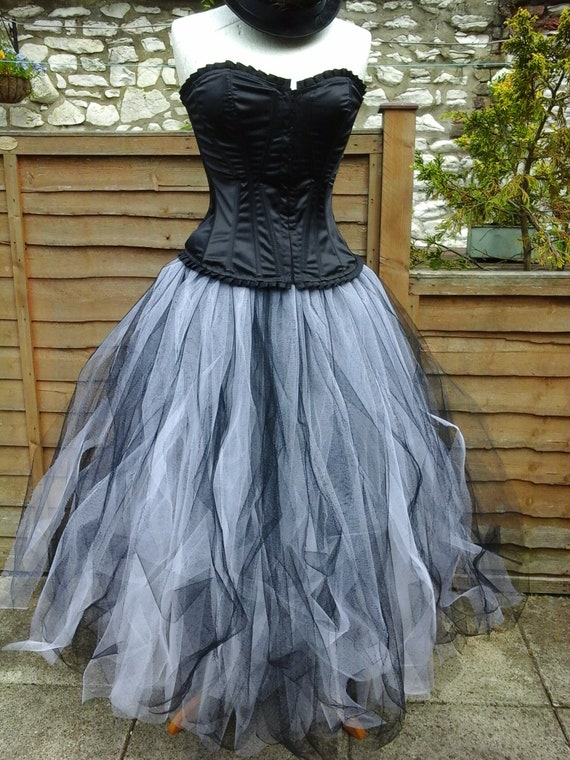 tutu skirt long white black goth weddings victorian prom dress | Etsy