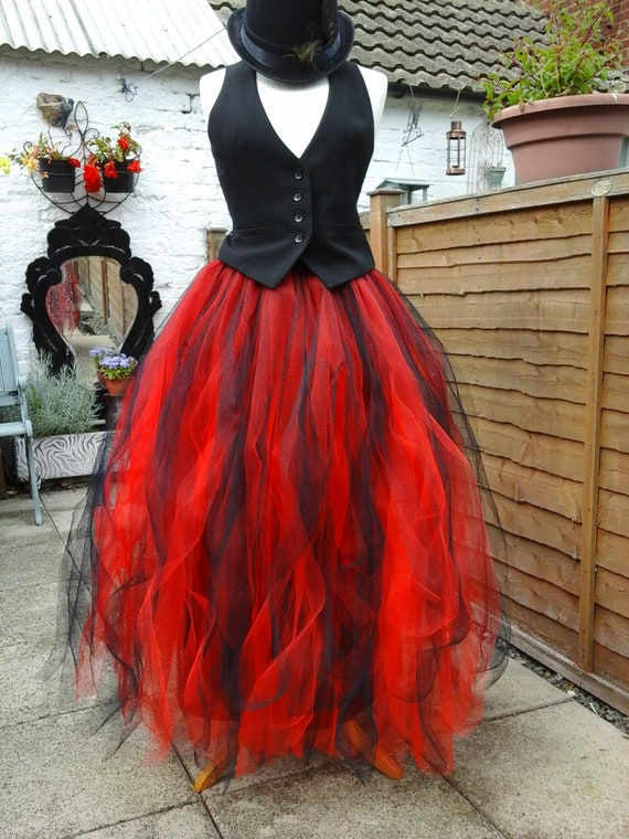 long black red tutu skirt BESPOKE adult tulle lined floor length dress maxi bridesmaid gothic wedding gypsy witch size 18 20 22 24 XL XXL