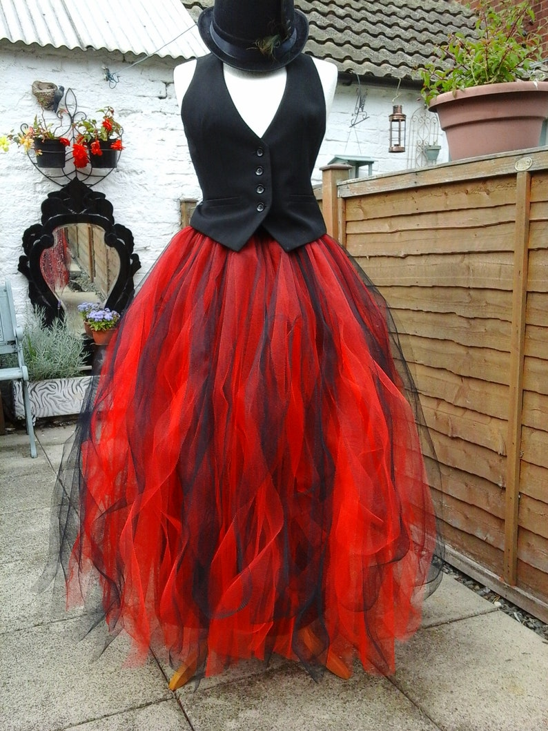 cf21b6223f Long black red tutu skirt adult tulle LINED quirky dress maxi | Etsy