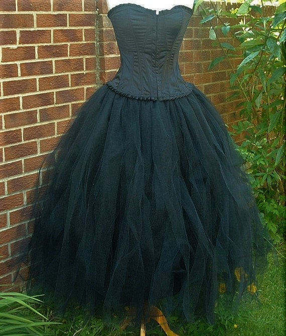 official sale new arrivals large assortment womens black tutu skirt adult tulle lined floor length gothic wedding  quirky lagenlook maxi ballet fairy princess witch US size 18 20 22 24