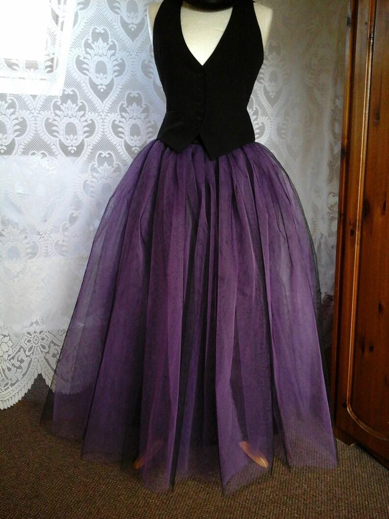 c332b1b42b Black purple tutu skirt goth tulle lined maxi FLARE FREE | Etsy