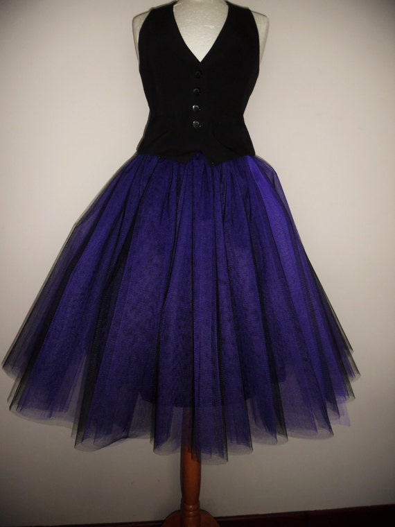 tutu skirt Long tulle black goth wedding steampunk gypsy prom bridesmaid dress