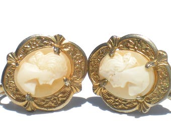 Cameo Screw On Earrings Hand Carved Shell Cameo Victorian Revival Vintage Jewelry Cameo Jewelry