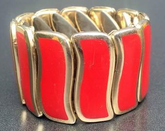 Lipstick Red & Gold Stretch Bracelet, Vintage Stretch Bracelet, Vintage Jewelry