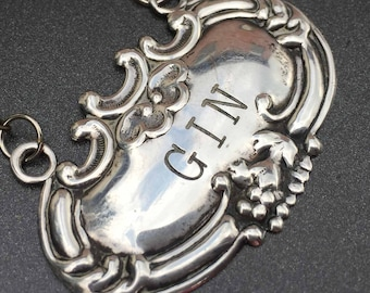 Antique GIN Liquor Bottle Label Tag, Decanter Tag, Antique Sterling Silver 1910s Repousse, Bar or Man Cave Gift for Him