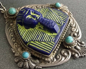 Egyptian Revival King Tut Pendant Blue Molded Glass with Neon Yellow Paint Turquoise Blue Accents on Silver Tone, Vintage Jewelry