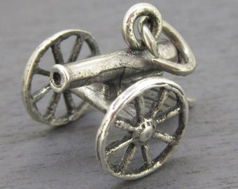 925 Sterling Silver Antiqued Cannon Charm and Pendant