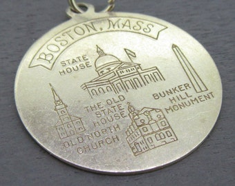 4 Massachusetts Charms Antique Silver Tone 2 Sided Massachusetts State SC1438