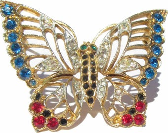 Rhinestone Butterfly Brooch with Patriotic Colors of Red White and Blue with Black and Green Accents on Gold Tone, Vintage Jewelry