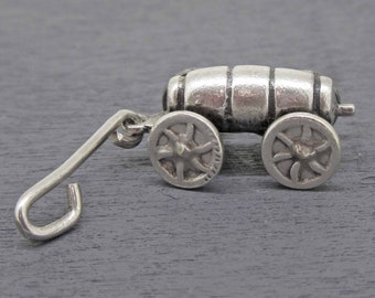 Vintage Beer Wagon Charm 800 Silver Movable Sterling Barrel Wagon Charm Moving Wheels and Handle Pull Wagon Charm