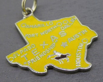 Enamel Texas State Charm, Enamel Charm, Yellow Road Trip Charm, Amarillo, Fort Worth, El Paso, Austin, Houston, and Dallas