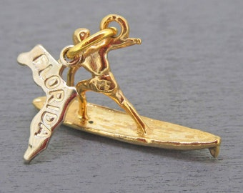 6 Surfer charms tibetan silver SP60