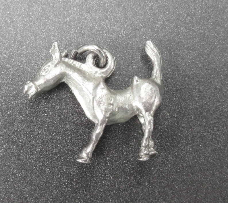 Sterling Silver Donkey Charm Animal Jewelry Vintage Sterling Donkey Pendant Sterling Silver Charm for Charm Bracelets