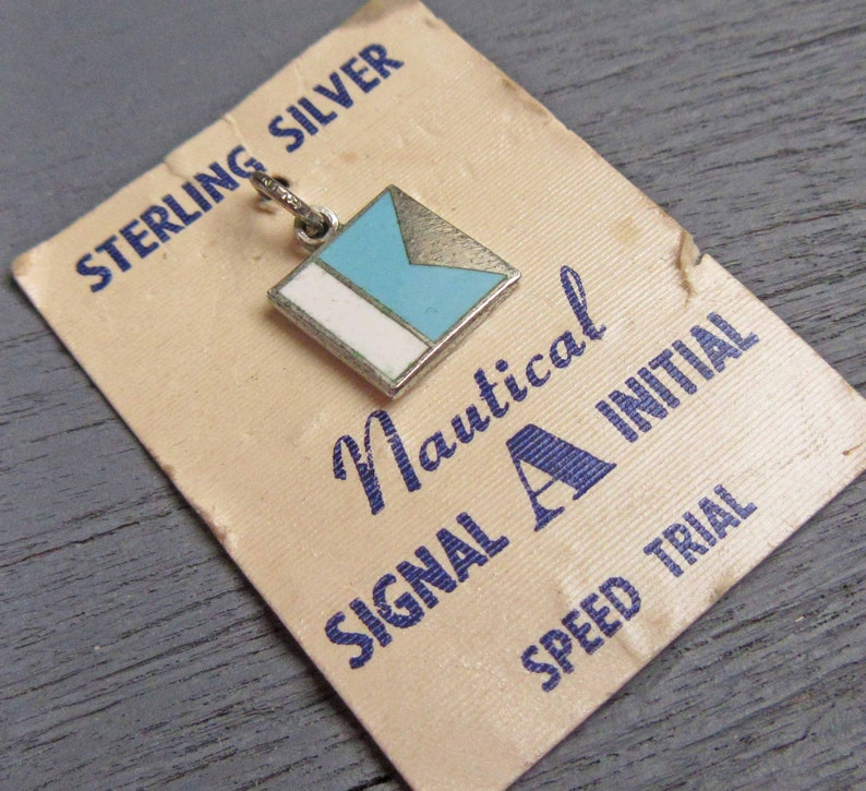 Enamel Sterling Nuatical A Initial Charm Vintage Sterling Silver Nautical A Initial Letter Charm with Blue and White Enamel Speed Trial