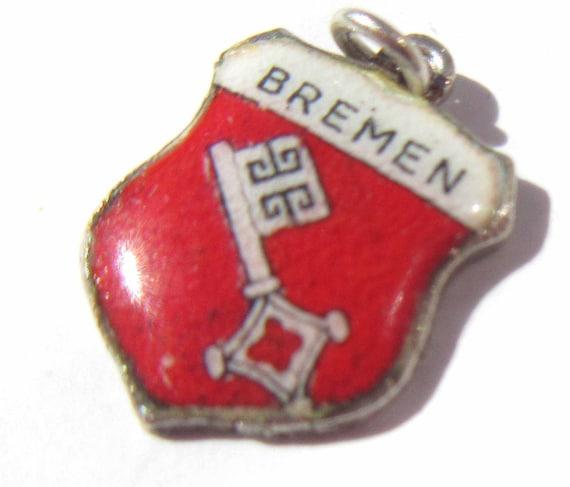 Enamel Shield Charm Bremen Souvenir Bremen Germany Charm Sterling Silver 800 Silver Charm Coat of Arms