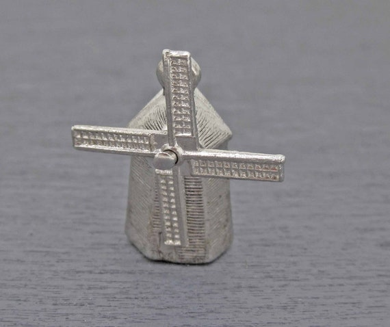 Vintage Engraved Windmill Charm Silver Windmill Charm