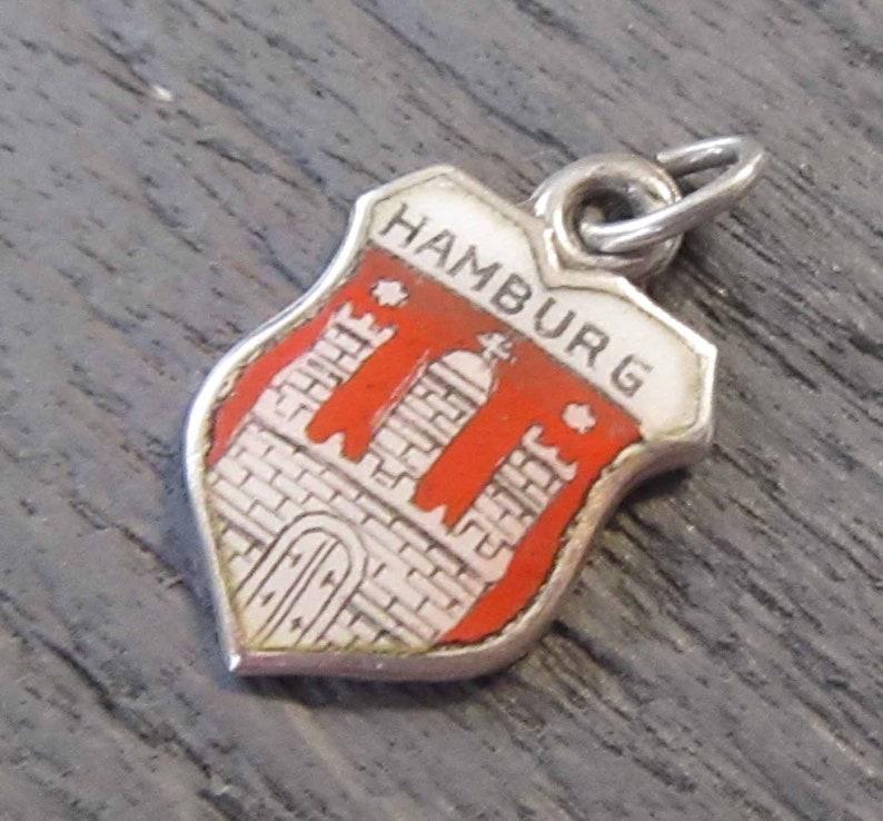 Sterling Silver 835 Silver Charm Hamburg Souvenir Bracelet Charm Enamel Shield Charm Red /& White Hamburg Germany Charm