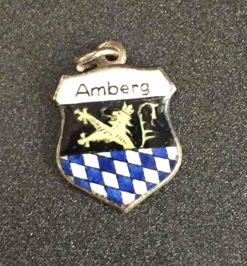 Enamel Shield Charm Amberg Germany Souvenir Sterling Silver 835 Silver Charm Amberg Germany Coat of Arms Charm Amberg Charm