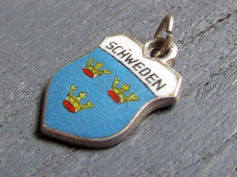 Schweden Charm Enamel Sweden Charm Vintage Enamel Shield Charm Stockholm Souvenir Sterling Silver Charm