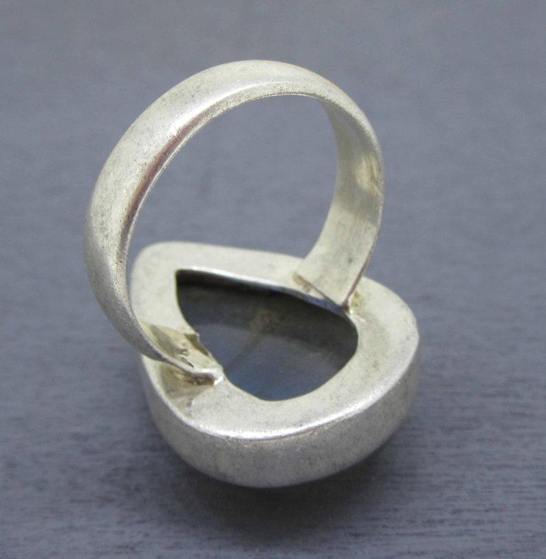 Size 6 34 Sterling Silver Labradorite Ring with Large Teardrop Labradorite Size 6.75
