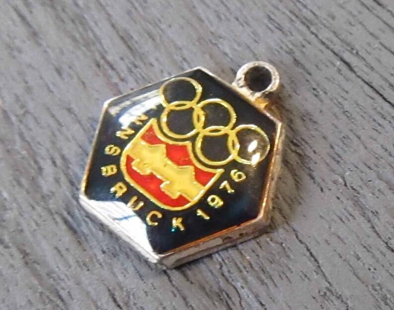 800 Silver Enamel Olympics Souvenir Charm Coat of Arms 1976 Innsbruck Austria Winter Olympics Charm with Enamel on Sterling Silver