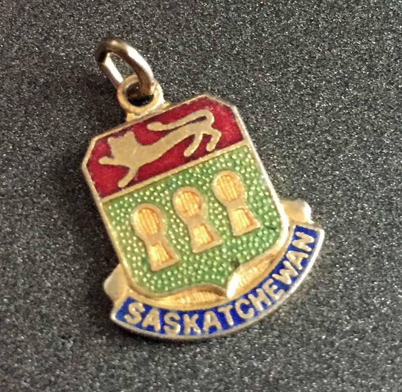 Canada Charm Saskatchewan Coat of Arms Charm Enamel Saskatchewan Charm Vintage Enamel Souvenir Charm for Charm Bracelets