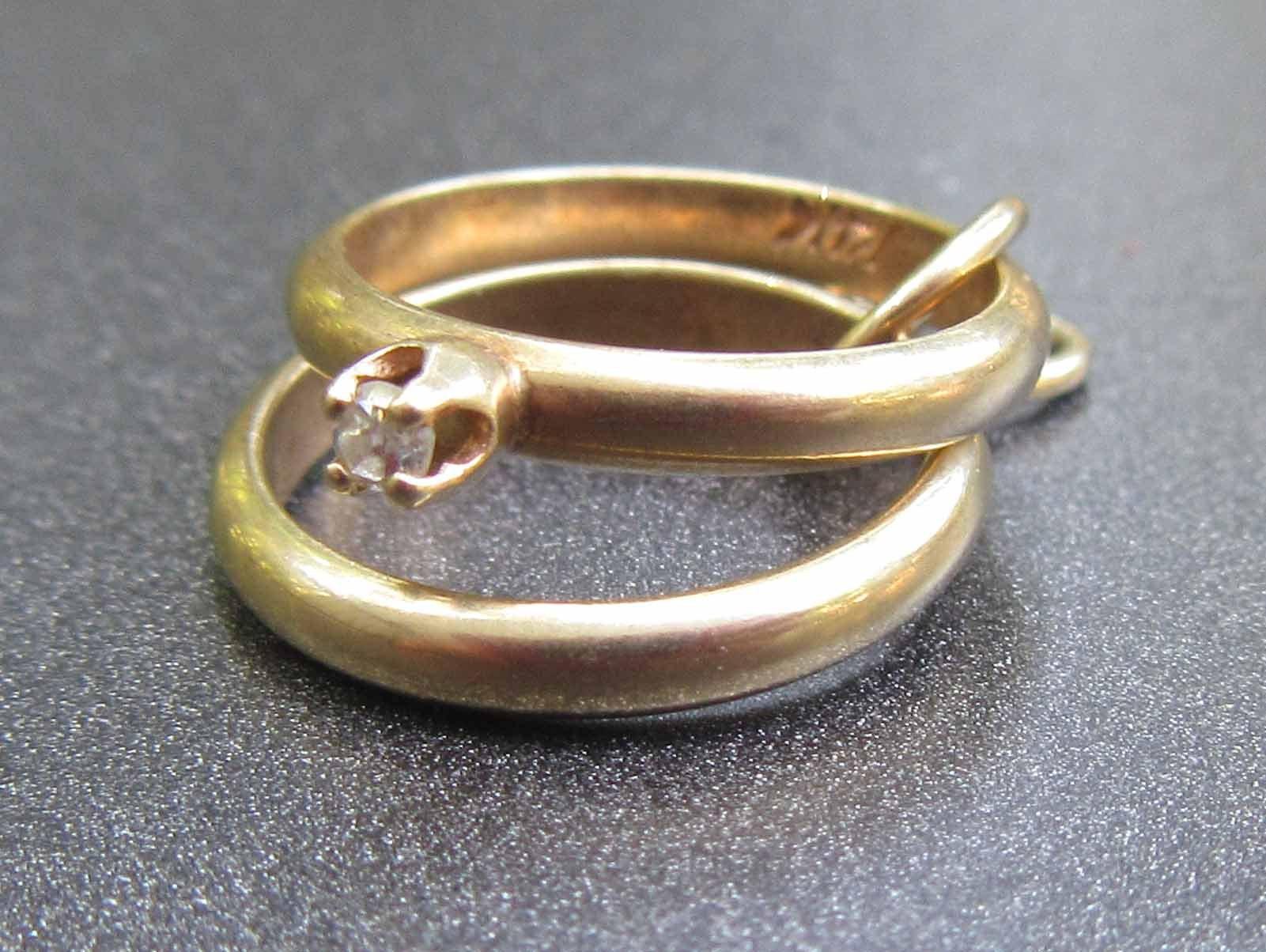 14k 14k 14k or, bague de mariage ensemble charme avec Pierre de diamant, cadeau de fiançailles, cadeau de mariage, 14 k charme de mariée Vintage 4182d3