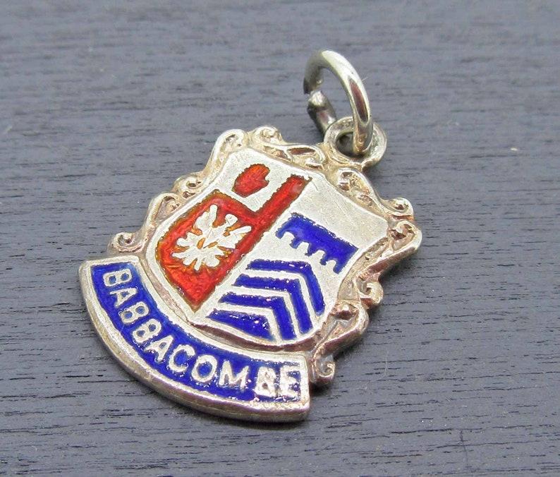 Babbacombe England Charm Devon England Charm England Souvenir Coat of Arms Sterling Silver Charm Vintage Charm Enamel Shield Charm