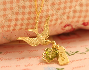 Gold Messenger Bird Faith Necklace Pendant Frinedship Everyday Jewelry Wedding Bridesmaids