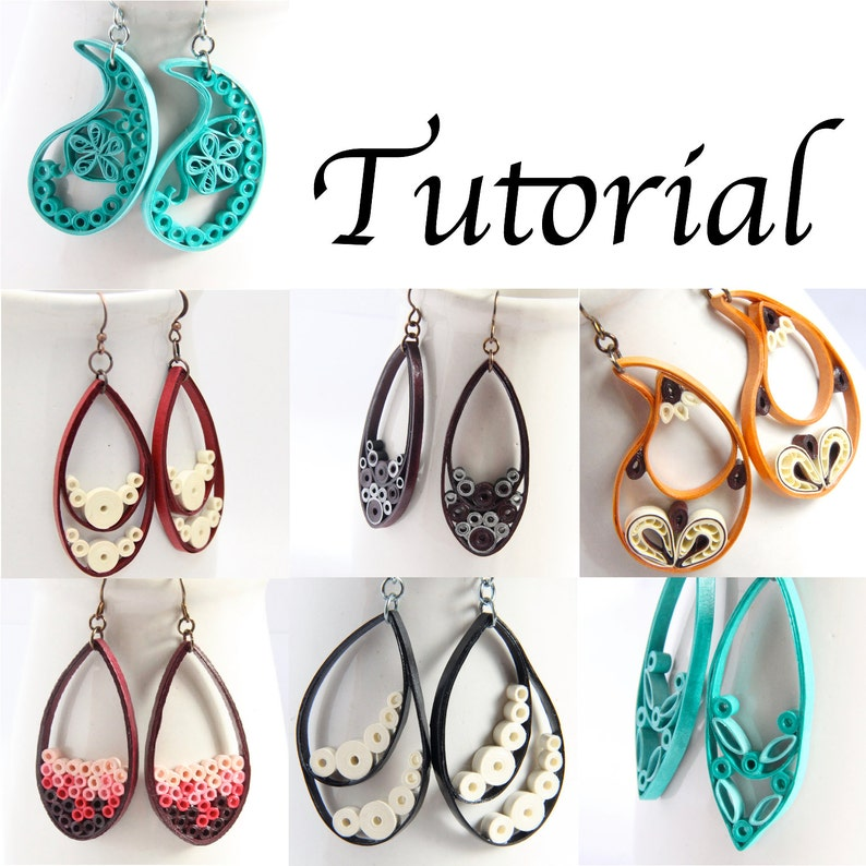 Tutorial for Paper Quilled Jewelry PDF Paisley and Teardrop image 0