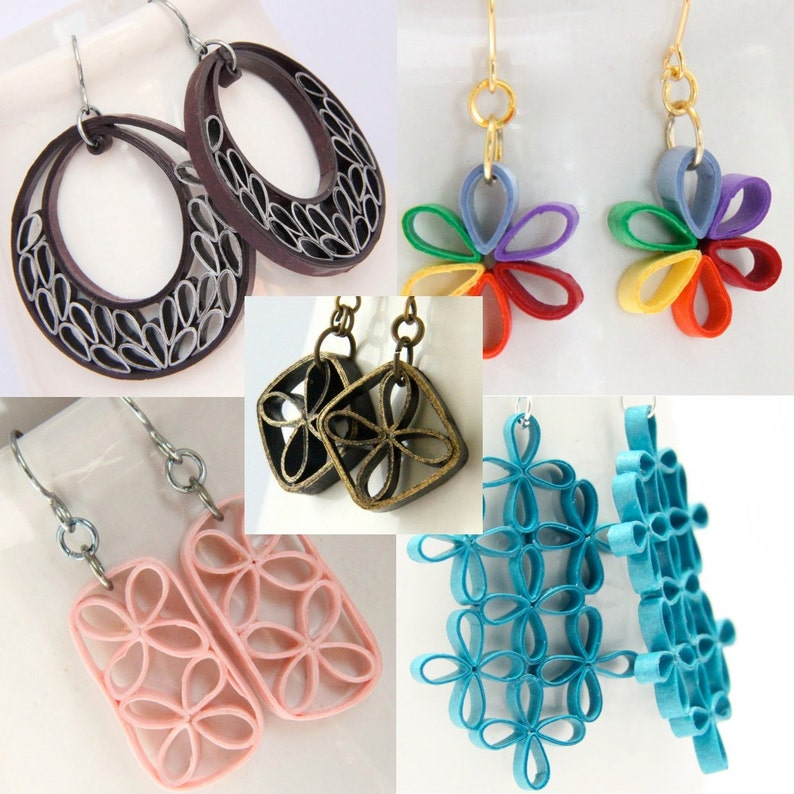 Tutorial for Paper Quilled Jewelry PDF Lattice Flower and image 0