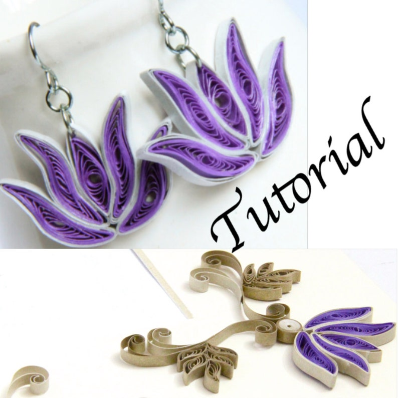Paper Quilling Tutorial for Jewelry PDF Lotus Flower and Lotus image 0