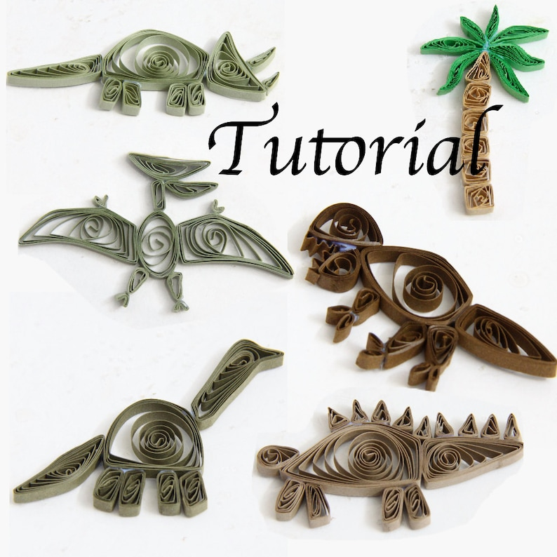 Tutorial for Paper Quilled Dinosaurs PDF for Decorative Pieces image 0