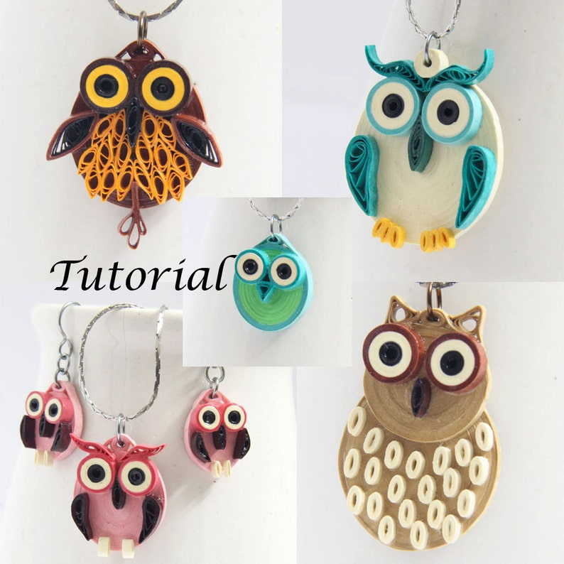 Owl Earrings DIY Tutorial for Paper Quilled Jewelry PDF Owl image 0