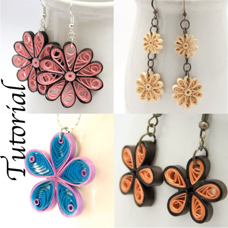 Tutorial for Paper Quilled Jewelry PDF Flower Earrings and image 0