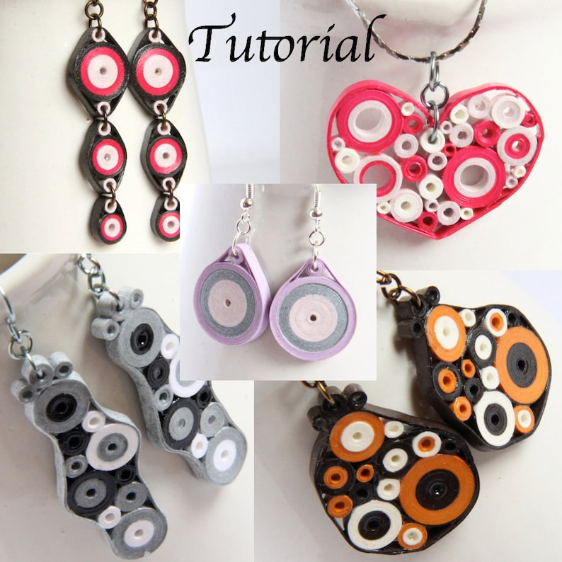 Tutorial for Paper Quilled Jewelry PDF Retro Circles Earrings image 0