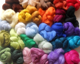 60 Different Merino Wool Tops to select from - 100% Merino wool for Needlefelting, Wet Felting etc with free postage