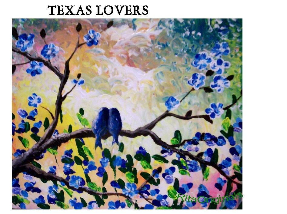 Bird Painting Canvas Painting Texas Bluebells Love Romance